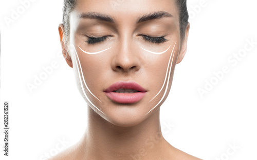 Photo  Face lift treatment anti aging skincare woman concept