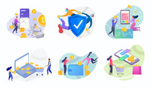 Online Mining Trading Crypto Currency Vector Flat Illustration. Modern Data Analysis, Finance Statistic, Data Come Out From Phone, Flat Style Illustration