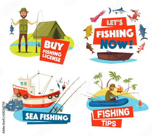 Fishing boat, net and fisherman, ship, fish, rod Fototapet