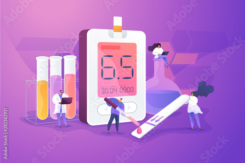 Photo sur Toile Les Textures Medical laboratory research. Blood sample analysis. Tube lab testing. Disease diagnostics. Diabetes mellitus, Type 2 diabetes, insulin production concept. Vector isolated concept creative illustration