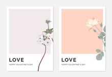 Minimalist Botanical Valentine Greeting Card Template Design, Woolly Rock Jasmine On Light Purple And Rose On Light Red