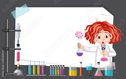 Scientist working with science tools in lab around frame template