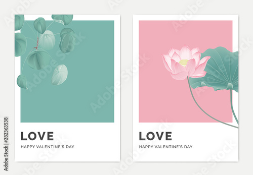 Leinwand Poster Minimalist botanical valentine greeting card template design, Pilea peperomioide