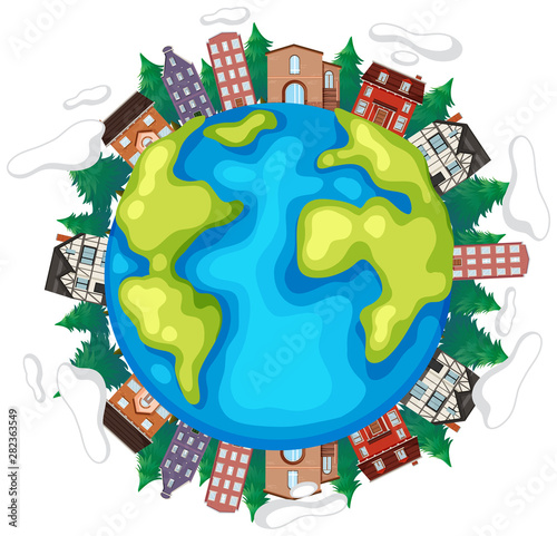 Earth with houses and trees