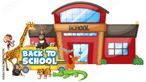 In de dag Kids Back to school template with animals