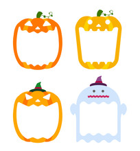 Halloween Pumpkin Head (jack O Lantern) Illustration (mouth Open) Set With Ghost Illustration / Text Space