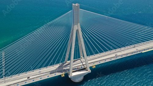 Foto op Aluminium Bruggen Aerial drone photo of world famous cable suspension bridge of Rio - Antirio Harilaos Trikoupis, crossing Corinthian Gulf, mainland Greece to Peloponnese, Patras