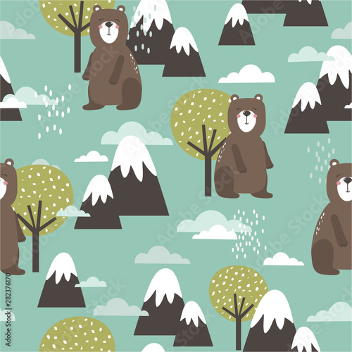 Seamless pattern, bears, mountains and trees, hand drawn overlapping backdrop. Colorful background vector. Illustration with animals. Decorative wallpaper, good for printing