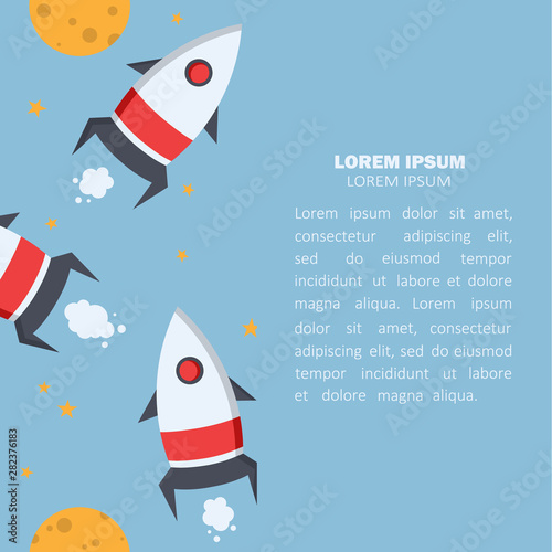 Space rockets, moon, stars and place for text. Colorful  background vector, outer space. Decorative wallpaper, good for printing. Backdrop design, flat style