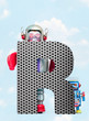 canvas print picture - retro robots holding a big  metal letter  R with blue sky
