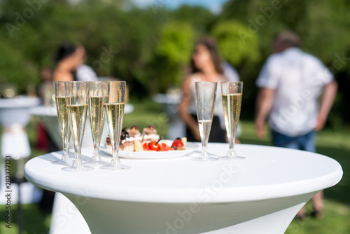 Photo sur Toile Nature Welcome drink, view of glasses filled with champagne on a table in a garden - selective focus