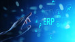 canvas print picture ERP - Enterprise resource planning business and modern technology concept on virtual screen.