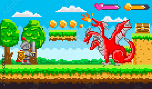 Obraz na plátne Pixel game knight in armor with sword and shield fighting with red fire belching three headed dragon for chest of money
