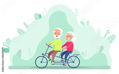 Photo  Elderly people driving bicycle together, grandparents active outdoor