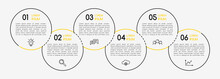Circle Infographic With Business Icons. 6 Options. Vector