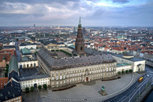 Aerial View Of Christiansborg Palace Located In Copenhagen, Denmark