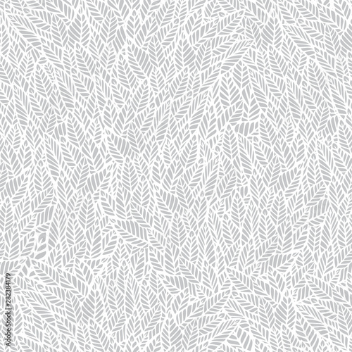 Obraz Vector seamless pattern. Gentle neutral natural botanical stylish background with graphic hand drawn leaves. White and light-gray foliage background. Repeating trendy print for print and cloth, - fototapety do salonu