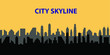 Modern City Skyline. Different buildings, skyscrapers, office center silhouette. Vector flat cartoon panorama. Architecture urban landscape