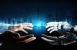 Leinwandbild Motiv Robot hand making contact with human hand on dark background 3D rendering