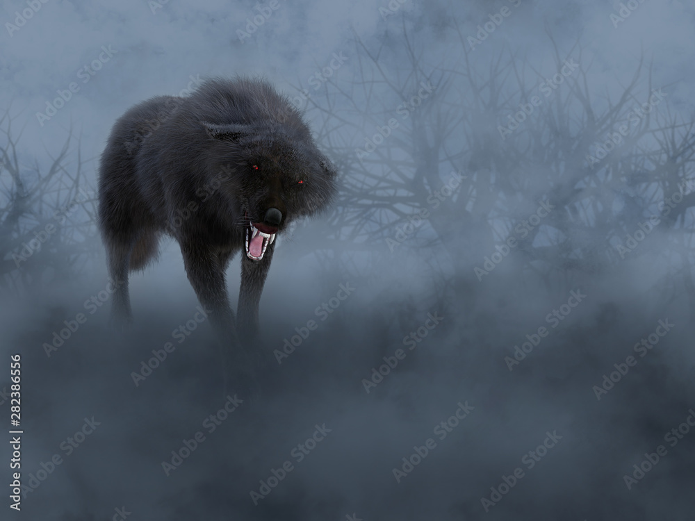 Fototapety, obrazy: 3D rendering of a black wolf with glowing red eyes.