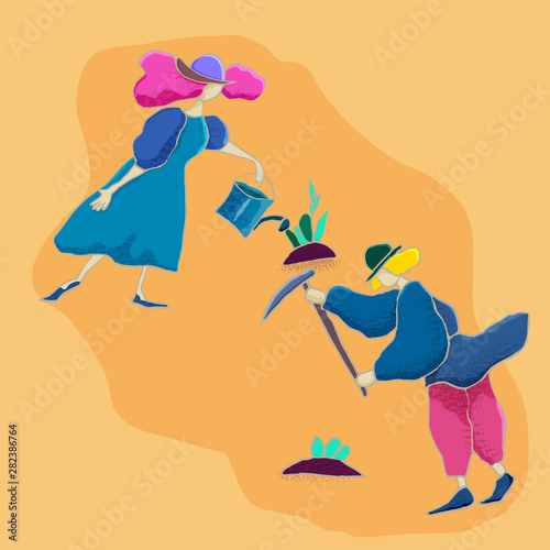 Vector flat illustration. Couple of gardeners is engaged in agricultural work together: planting and caring for trees, vegetables, harvesting.