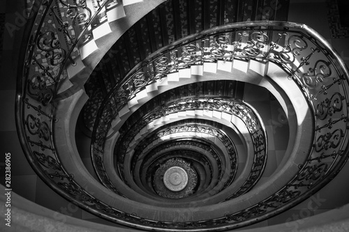 Spiral staircase from top to down decor design in Europe style.