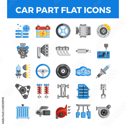 Vehicle and car parts flat icons Canvas Print
