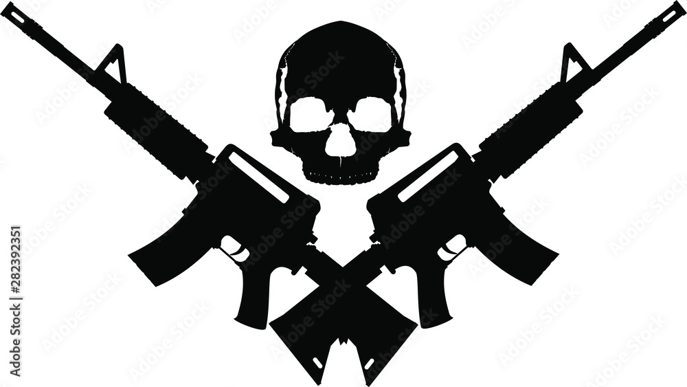 Fototapeta human skull and two crossed automatic assault rifles on a white background