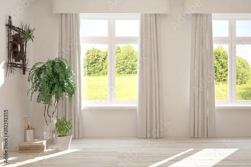 Foto auf Gartenposter Dunkelgrau Stylish empty room in white color with summer landscape in window. Scandinavian interior design. 3D illustration