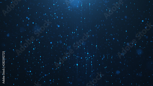Abstract background of shining particles, digital sparkling blue particles. Beautiful blue floating particles with shine light. 3D Rendering - 282392725