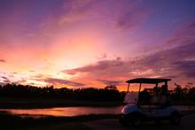 Silhouette Golf Cart In Golf C...