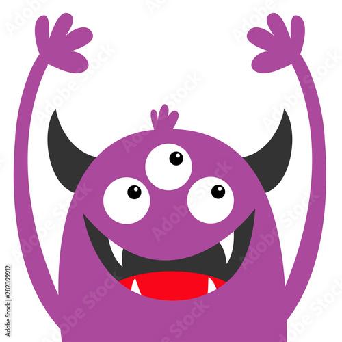 Monster Head Violet Silhouette Three Eyes Teeth Fang Horns