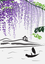 Imitation Of Chinese Painting With Boat, Hills And Purple Wisteria Branches