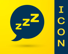 Blue Speech Bubble With Snoring Icon Isolated On Yellow Background. Concept Of Sleeping, Insomnia, Alarm Clock App, Deep Sleep, Awakening. Vector Illustration