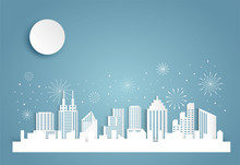 Christmas And Happy New Year Blue Vector Background With Cityscape And Fireworks Celebration Concept, Paper Art Design