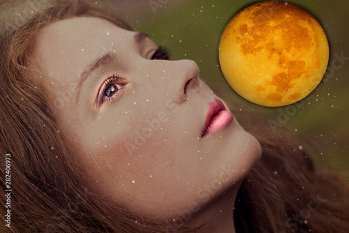 Fotografiet Woman face ,space and full moon