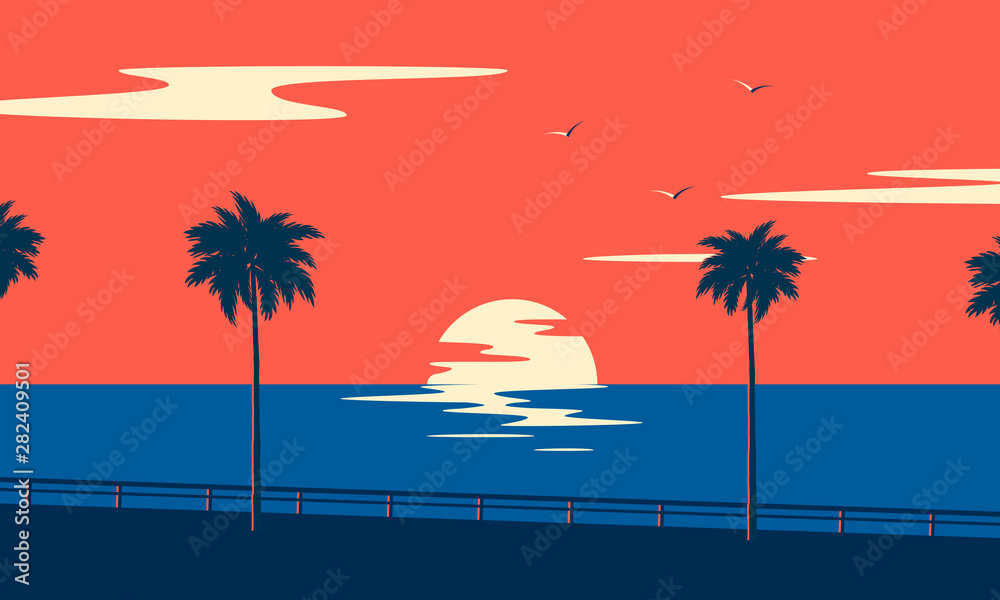 Fototapeta Sunset summer tropical beach with palm trees and sea. Nature landscape and seascape.