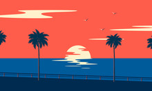 Sunset Summer Tropical Beach W...