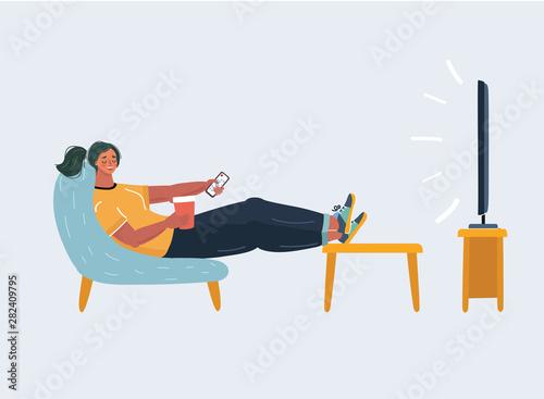 Woman watching tv. Wallpaper Mural