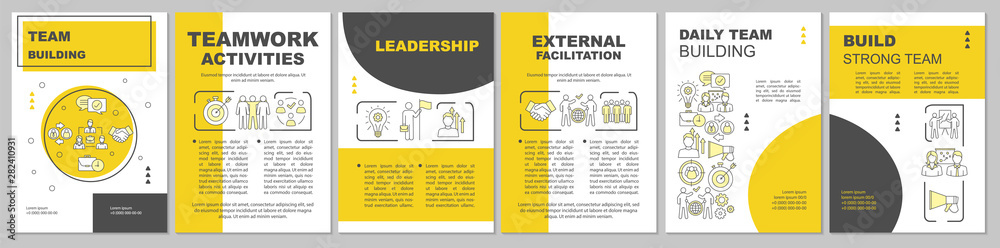 Fototapeta Team building brochure template layout. Partnership, leadership. Flyer, booklet, leaflet print design with linear illustrations. Vector page layouts for magazines, annual reports, advertising posters