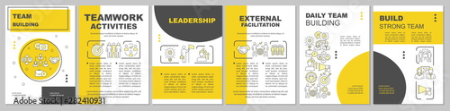Fototapeta Team building brochure template layout. Partnership, leadership. Flyer, booklet, leaflet print design with linear illustrations. Vector page layouts for magazines, annual reports, advertising posters obraz
