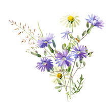 A Small Bouquet Of Watercolor Blue Flowers