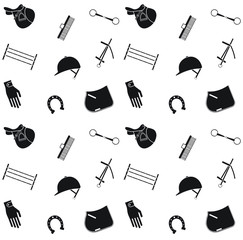 Vector seamless pattern of horse riding equestrian equipment isolated on white background