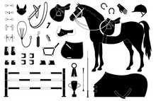 Vector Black Flat Set Of Horse Riding Equestrian Sport Equipment Isolated On White Background