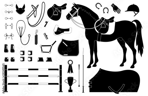 Fotografía  Vector black flat set of horse riding equestrian sport equipment isolated on whi