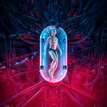 The Man Clone Pod / 3D Illustration Of Science Fiction Scene Showing Human Male Figure Inside Complex Futuristic Alien Incubator Cloning Machinery