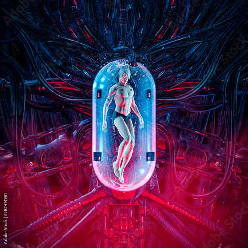The man clone pod / 3D illustration of science fiction scene showing human male Canvas Print