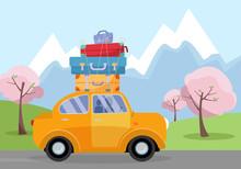 Car On Road Trip. Travel Vehic...