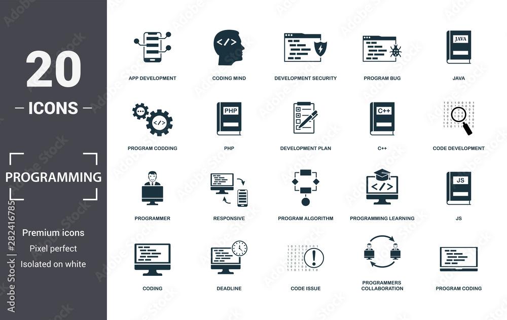 Fototapeta Programmer icon set. Contain filled flat coding, php, programming learning, app development, js, program algorithm, program bug icons. Editable format