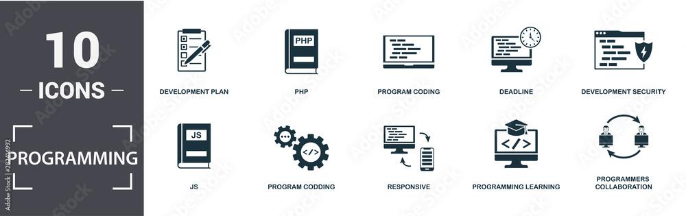 Fototapeta Programmer icon set. Contain filled flat development plan, programming learning, js, laptop coding, responsive, program coding icons. Editable format